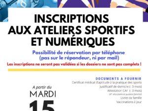 Inscriptions aux ateliers sportifs et numériques