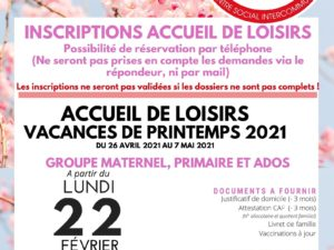 Inscriptions Printemps