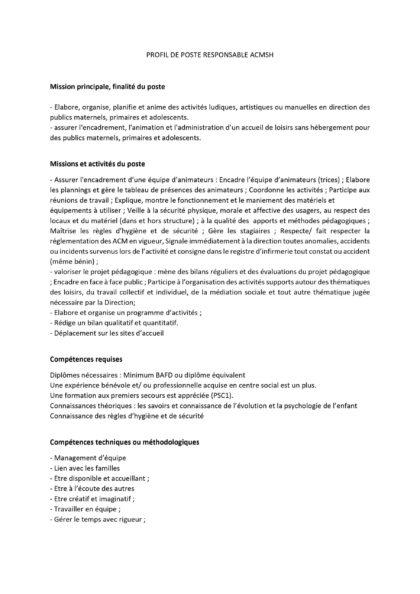 Profil de Poste Responsable ACMSH